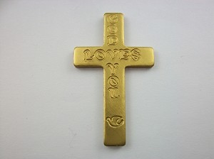 Gold Anodized God Loves You Cross