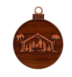 Christmas  Ornament - Nativity (engraved background)